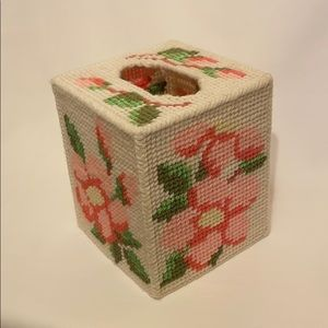 VTG Needlepoint Tissue Box Cover